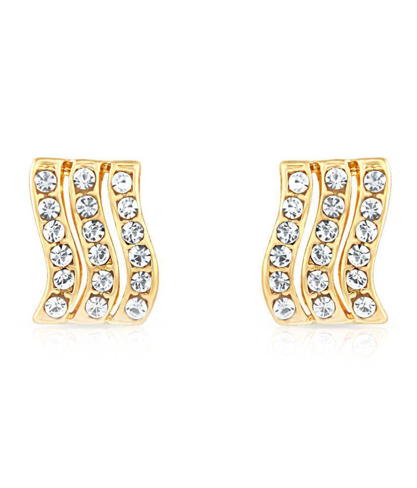 Oviya Golden Alloy Stud Earrings
