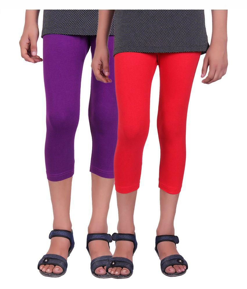 Alisha Multicolour Cotton Lycra Capri - Pack of 2