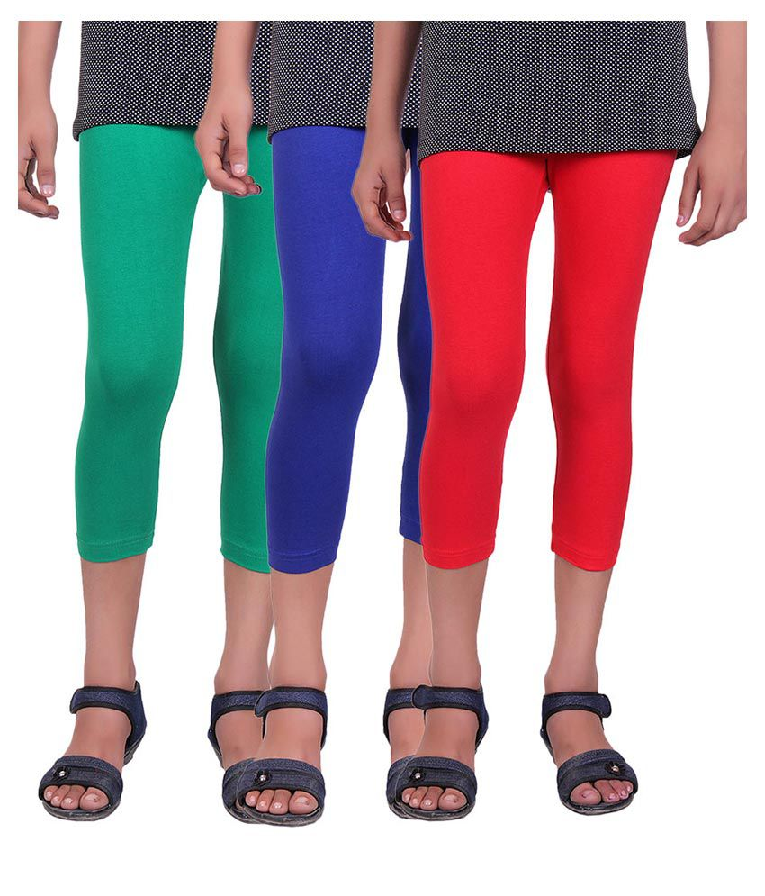 Alisha Multicolour Cotton Lycra Capris - Pack of 3