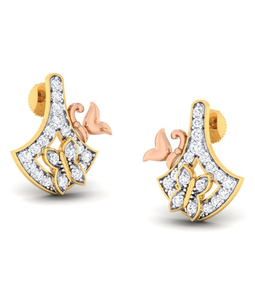 Abhijewels 18K Gold Two Tone Stud Earrings With Diamond