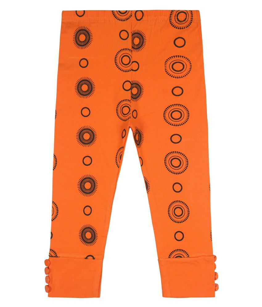 Jazzup Orange Cotton Blend Capris