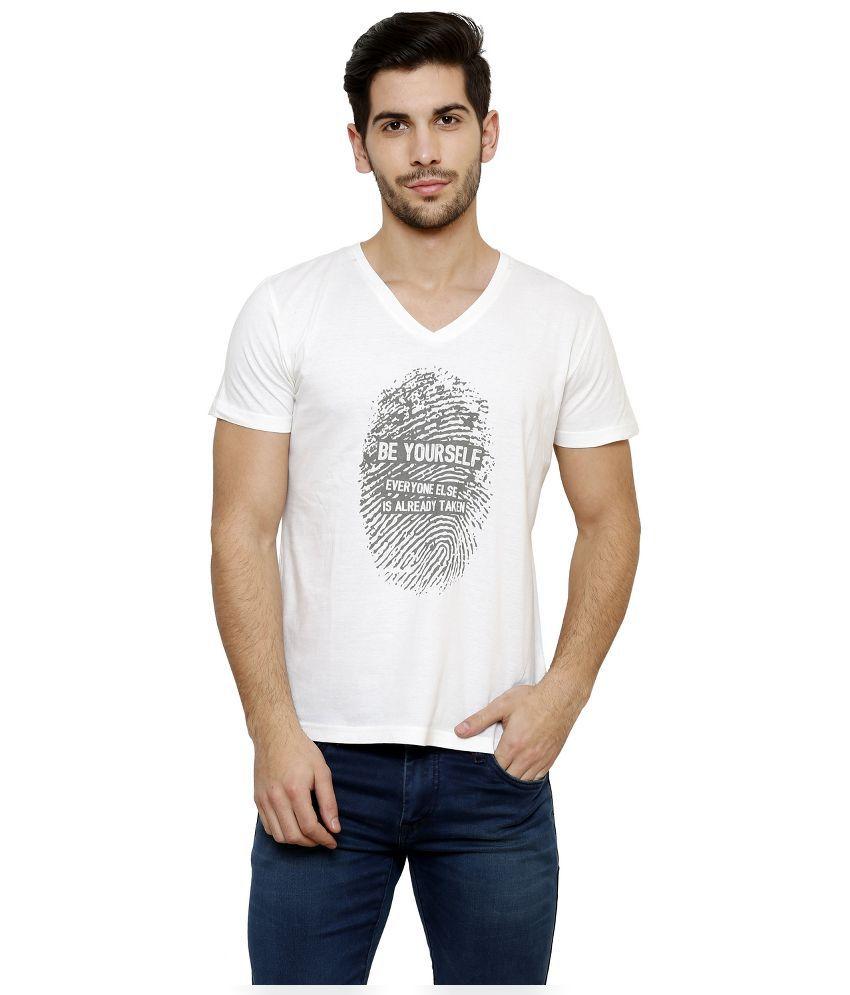 Desinvolt White V-Neck T Shirt