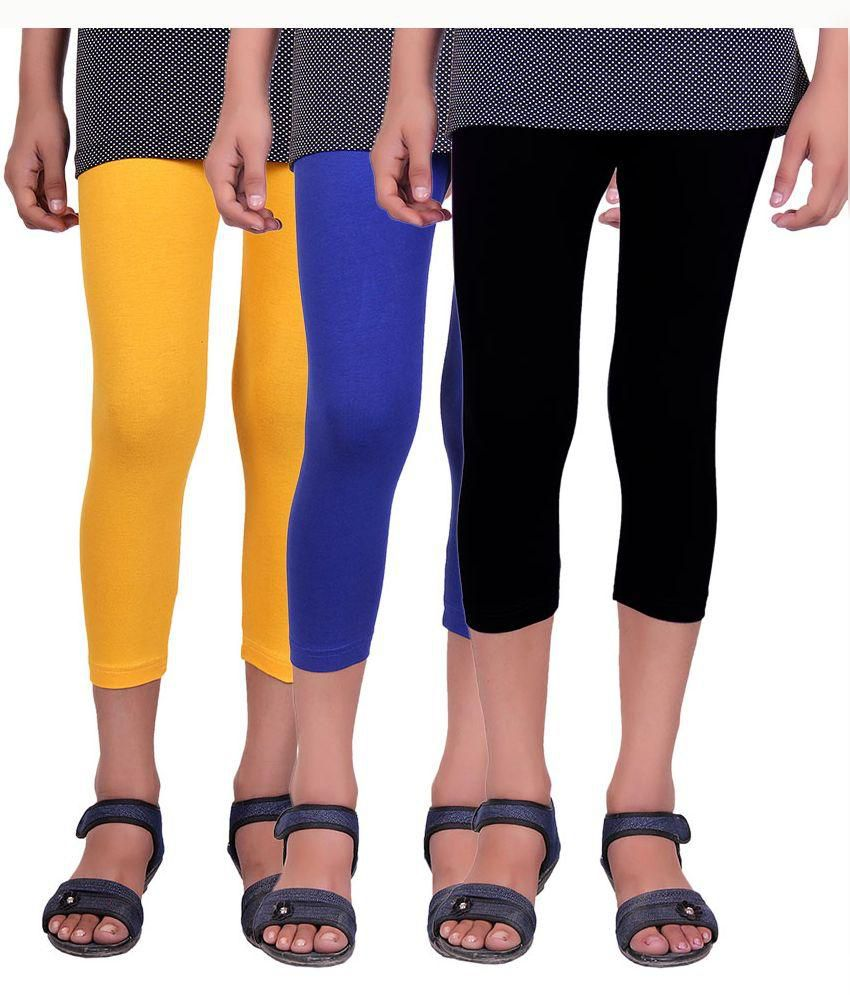 Alisha Multi Color Cotton Lycra  Capris - Pack of 3
