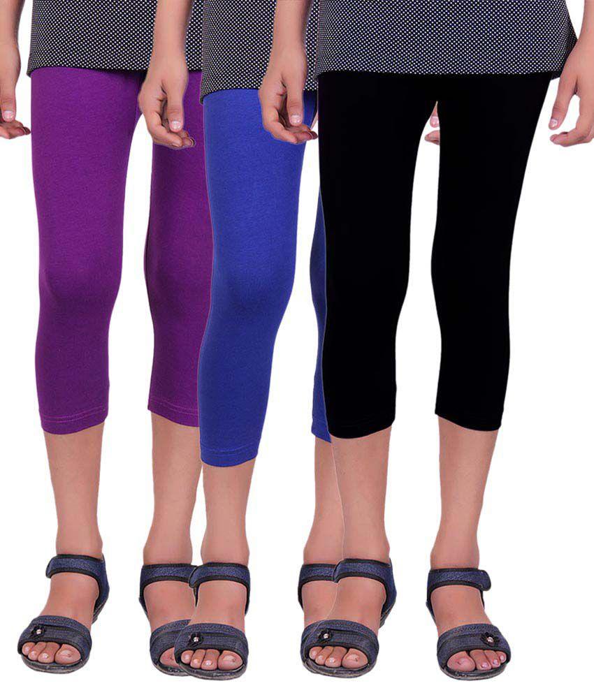 Alisha Multicolour Cotton Lycra Capris - Pack of 3