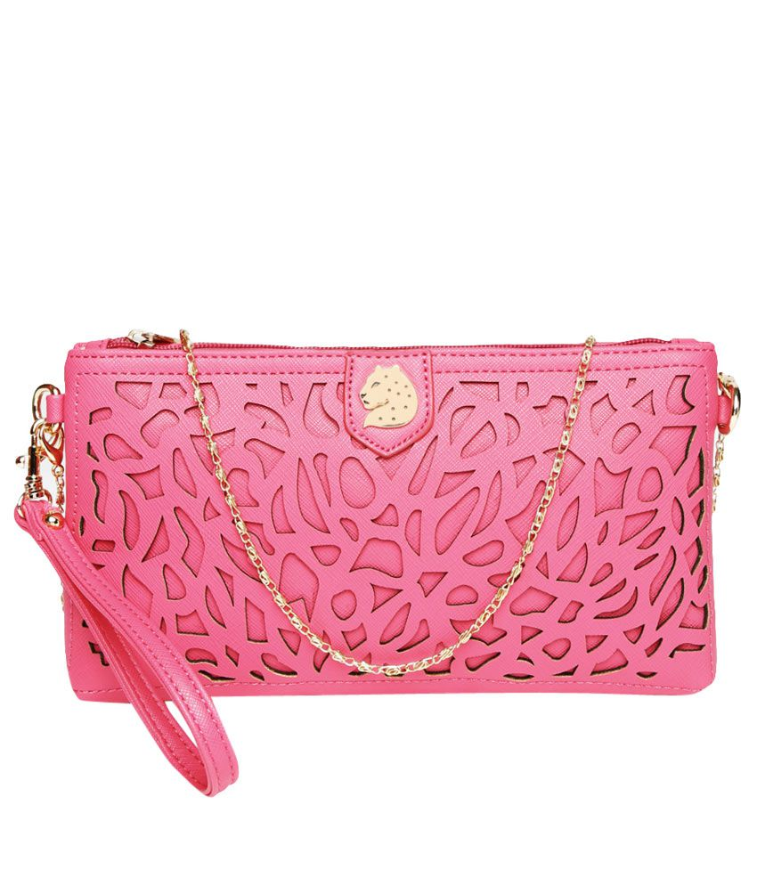 Covo Pink Faux Leather Wristlet