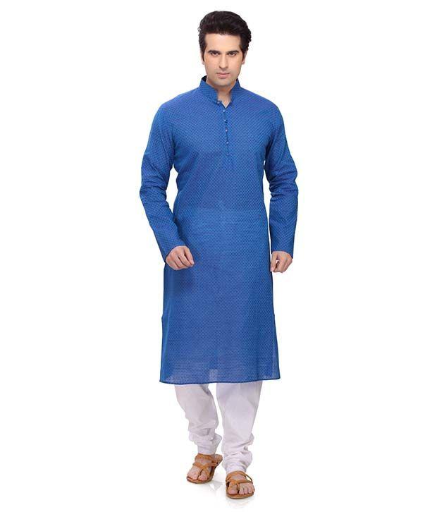 RG Designers Blue Kurta Pyjama Sets
