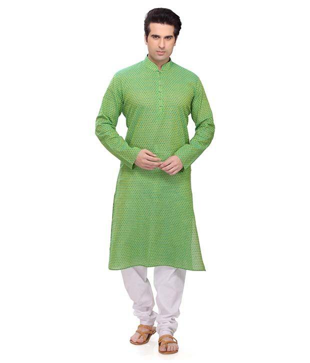 RG Designers Green Kurta Pyjama Sets