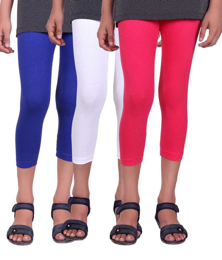 Alisha Multicolour Cotton Capris for Girls - Pack of 3