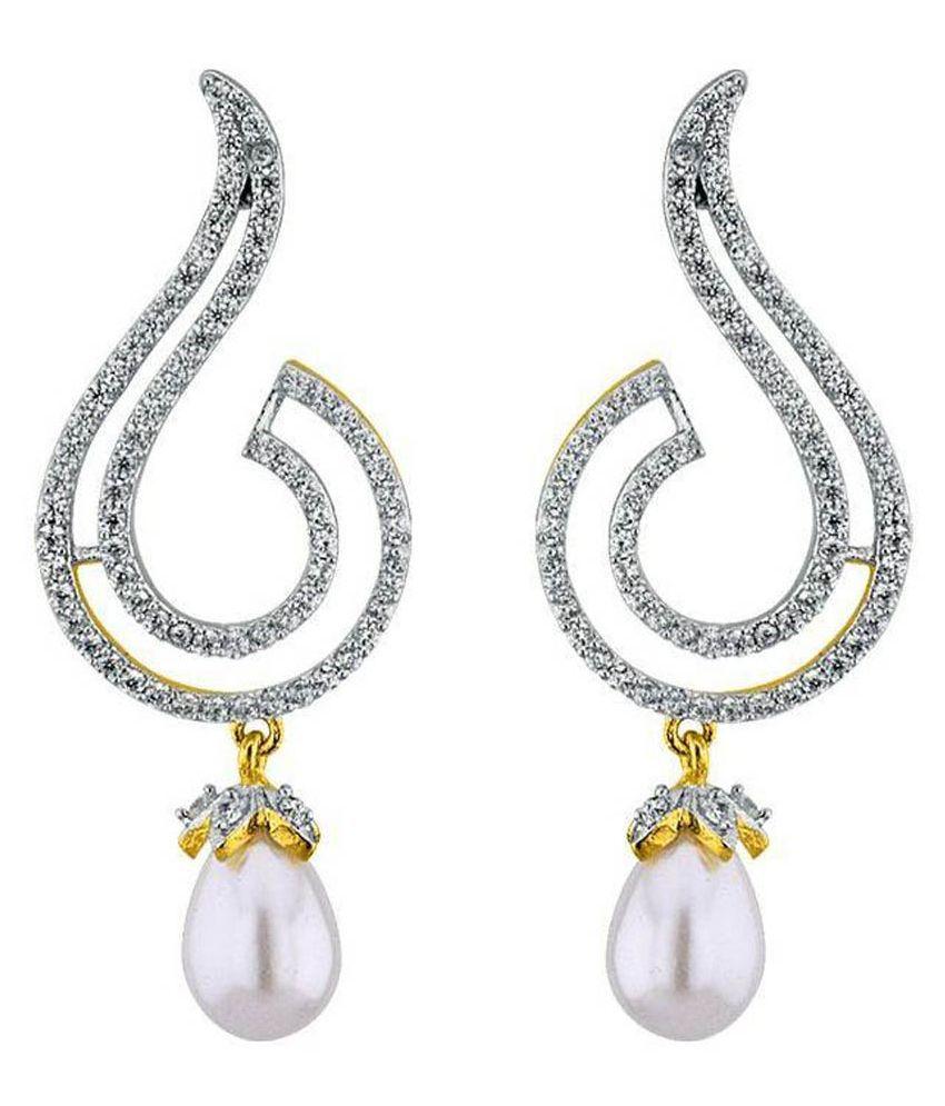 Sri Jagdamba PearlsWhite Pearl Hanging Earrings