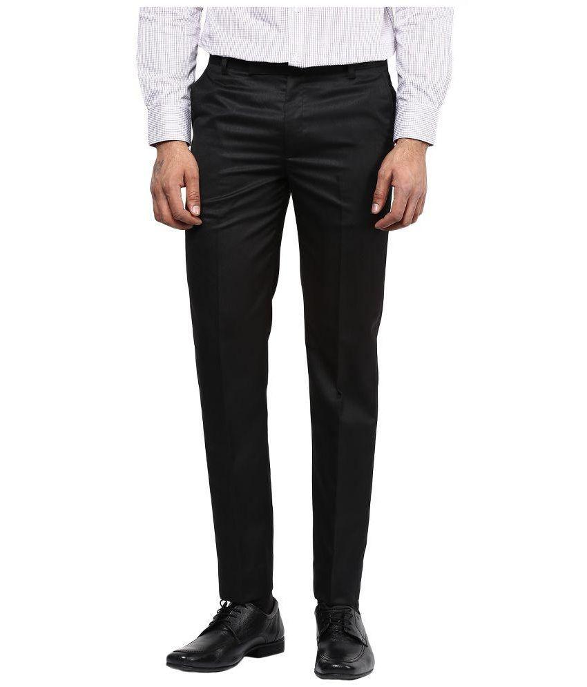 BUKKL Black Regular Flat Trouser