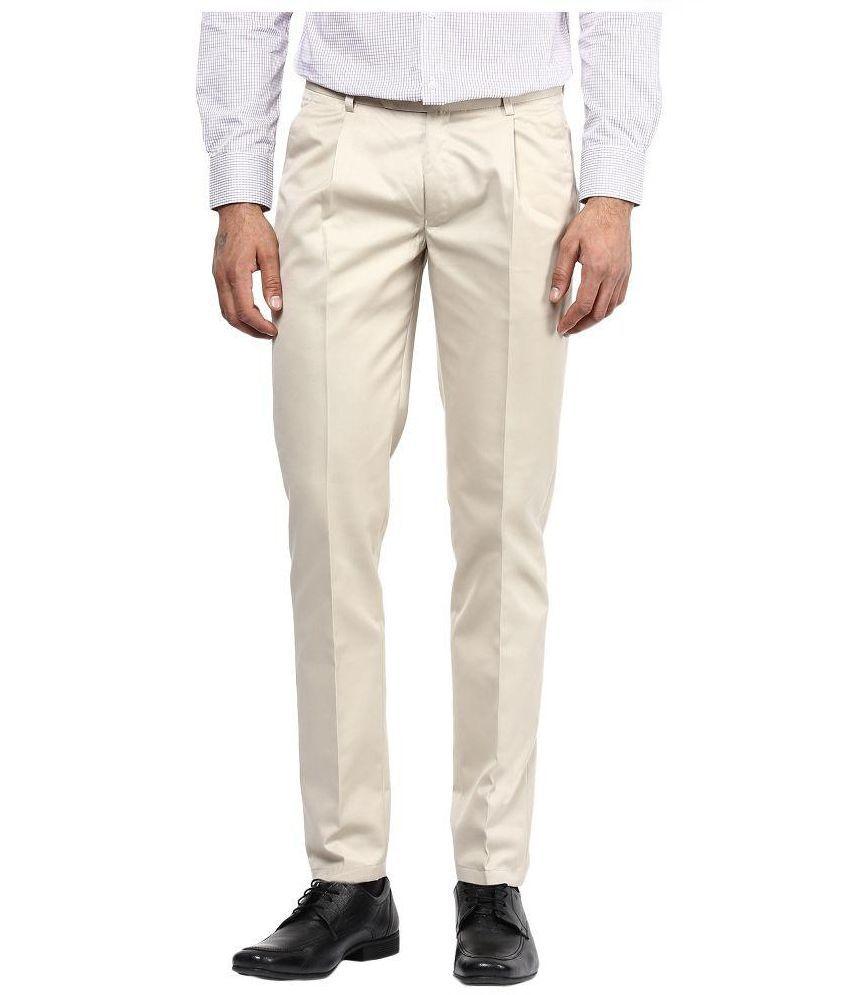 Bukkl Beige Regular Fit Flat Trousers