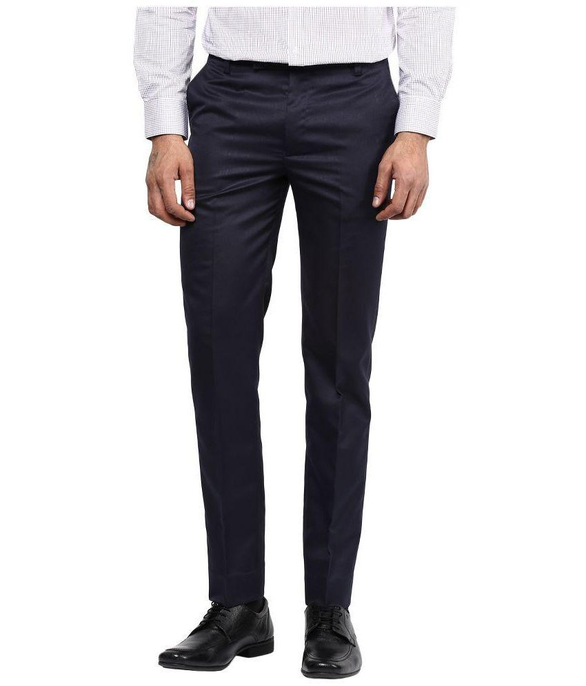 BUKKL Blue Regular Flat Trouser