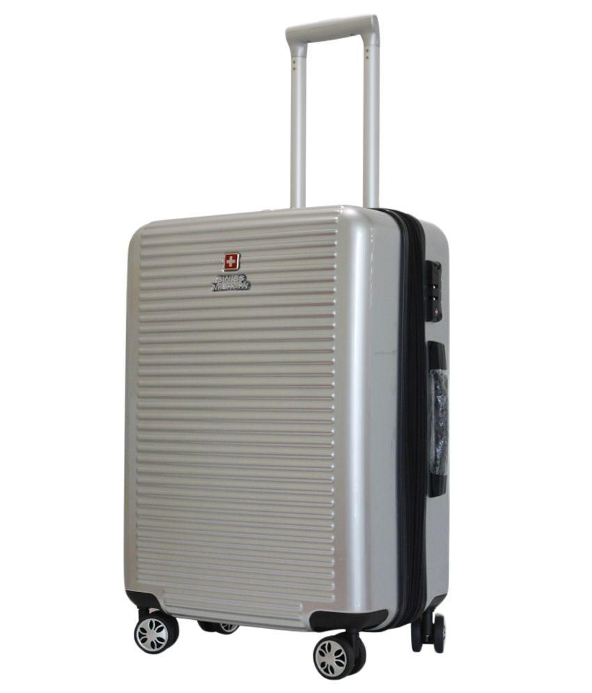 9133b48c7d40 Swiss Military Medium (59Cm) 4 Wheel Hard Silver HTL12 - COMET Luggage