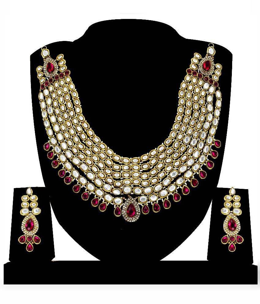 Zaveri Pearls Zinc Gold Plating kundan/Meenakari Studded Gold Coloured Necklaces Set