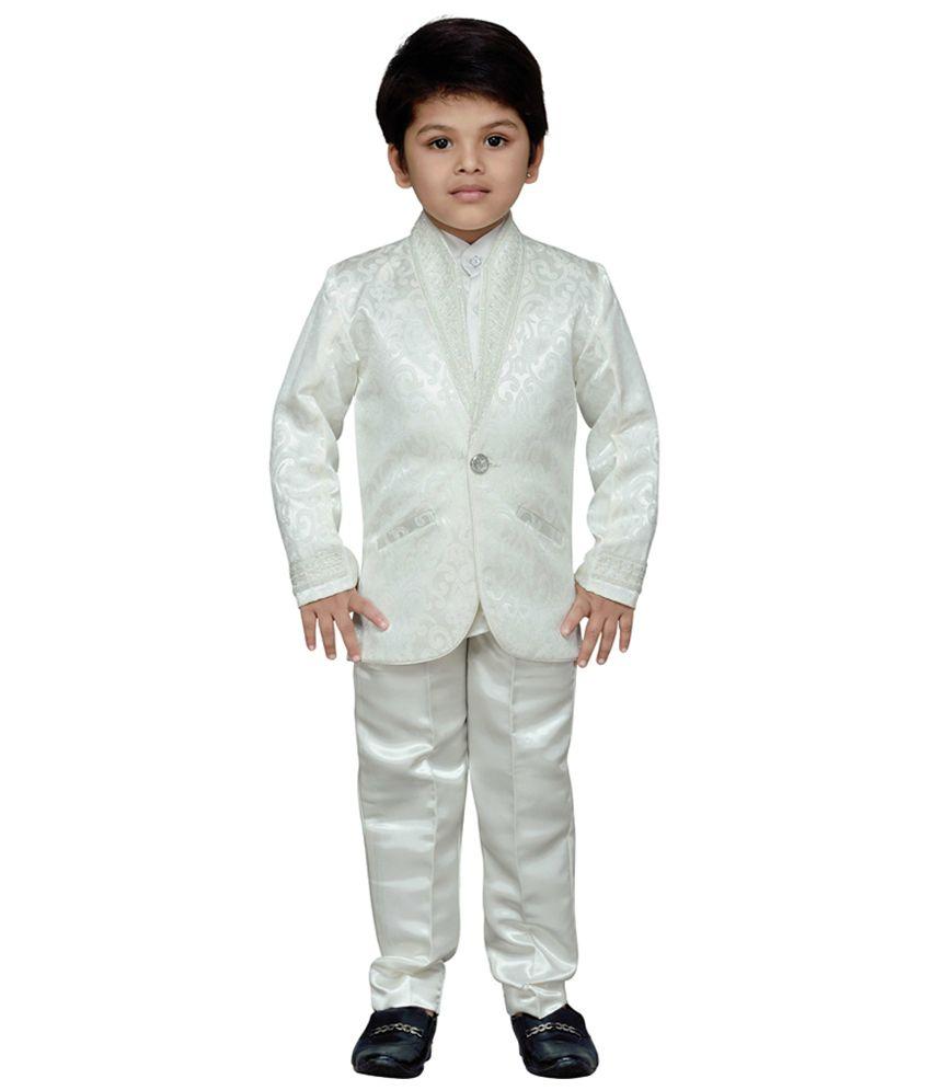 AJ Dezines White Kids Shirt, Coat and Pant Set