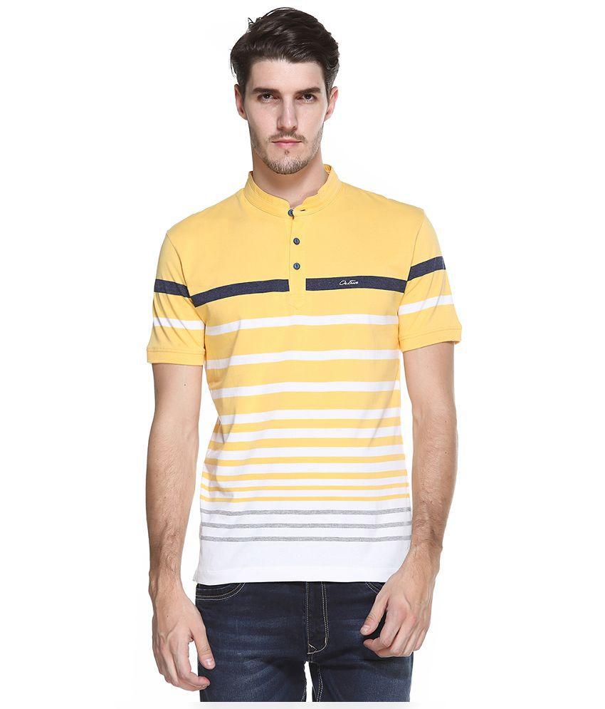 OCTAVE Yellow V-Neck T Shirt