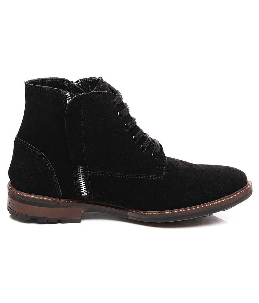 Pelle Originale Black Suede Leather Boots For Men