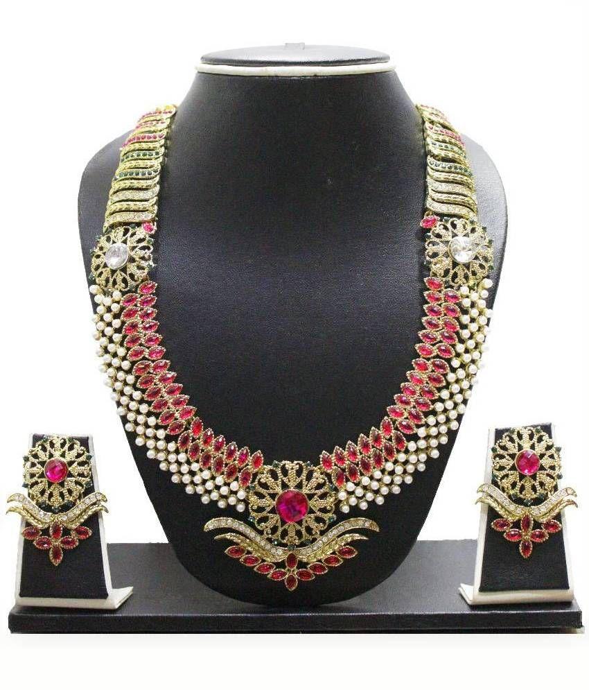 Zaveri Pearls Golden Zinc Necklace Set