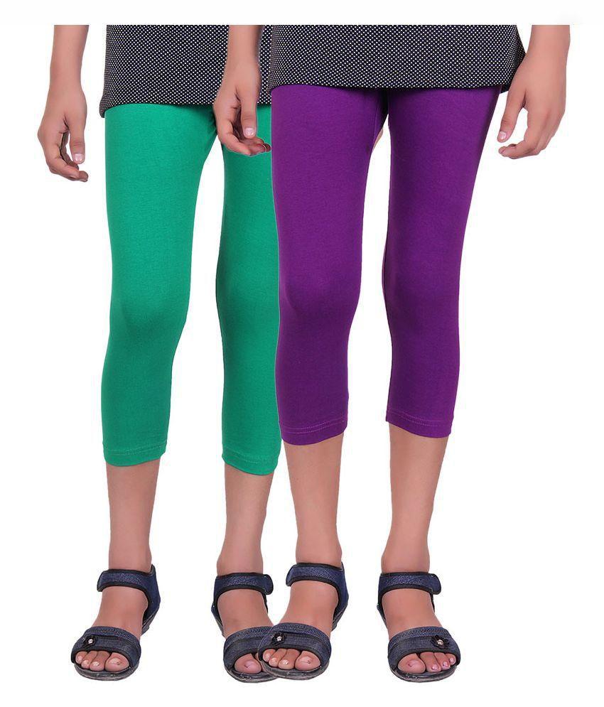 Alisha Multicolor Cotton Lycra Capris - Pack of 2