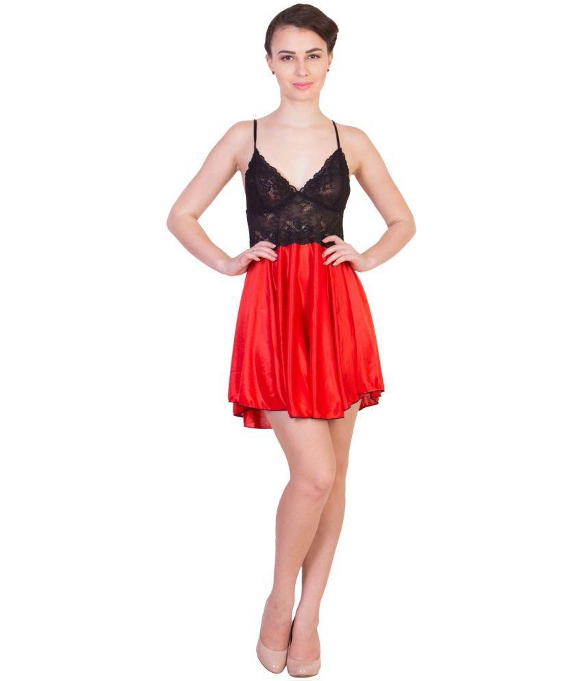 American-Elm Red Satin Baby Doll Dresses With Panty