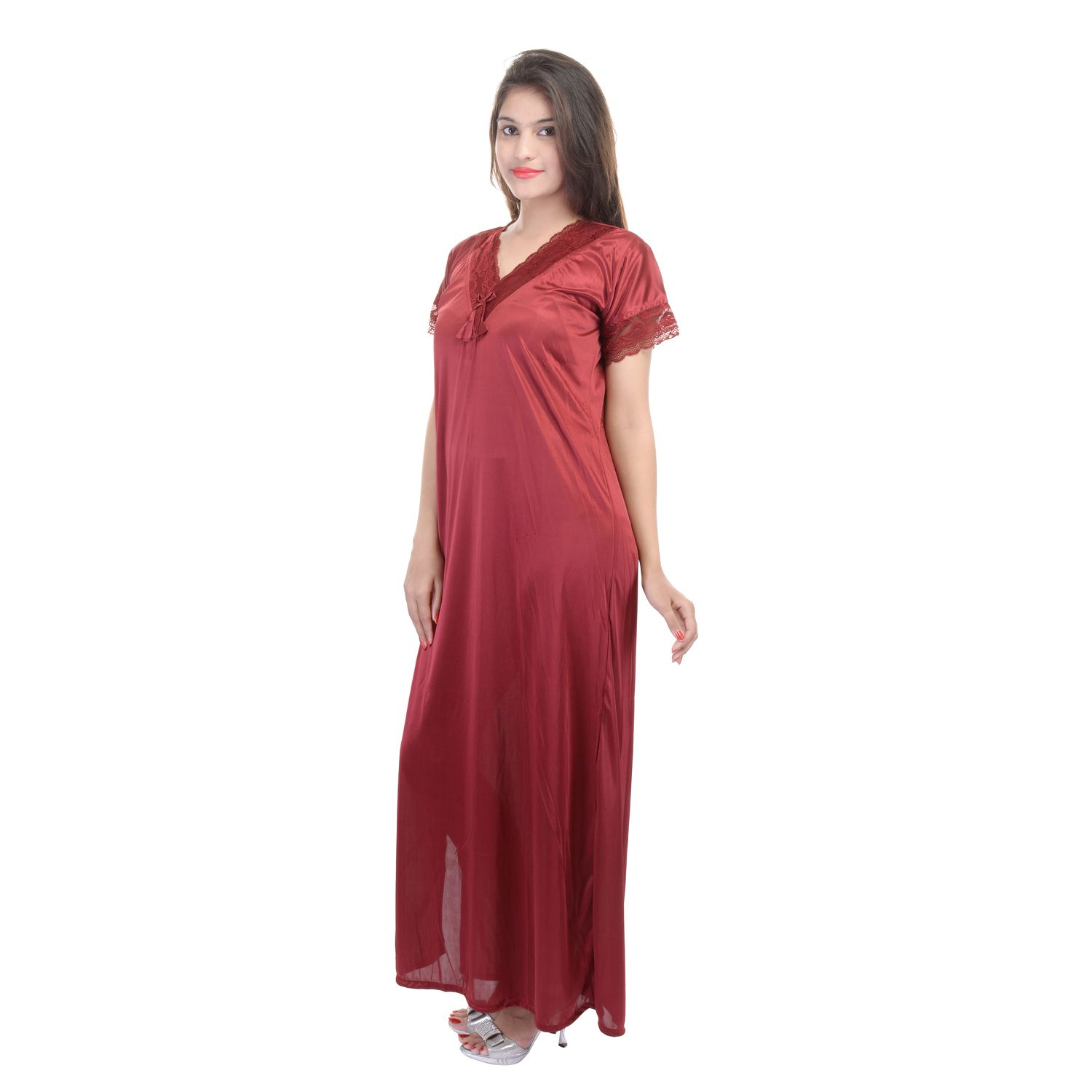 Buy Rajasthani Sarees Maroon Satin Nighty   Night Gowns Online at ... e70b666a6