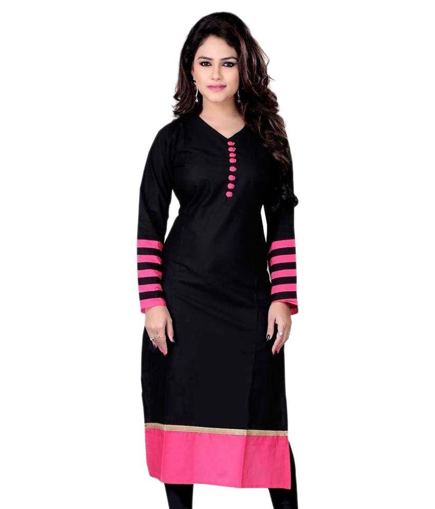 Kuvarba Fashion Black Cotton Straight Kurti