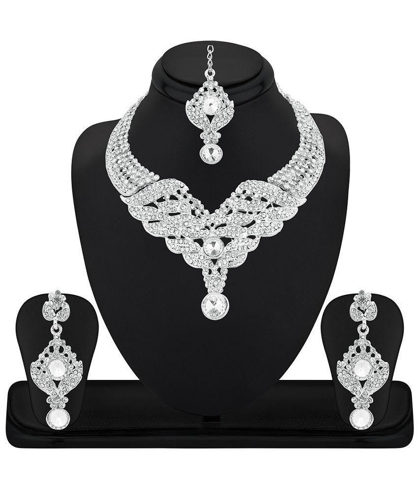 RG Fashions Jewellery White Zinc Necklace Set with Maang Tika