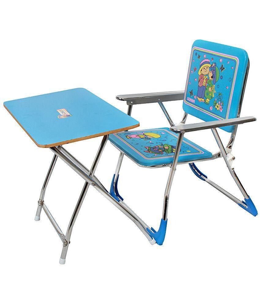 Tomafo Blue Metal Folding Study Table And Chair For Kids