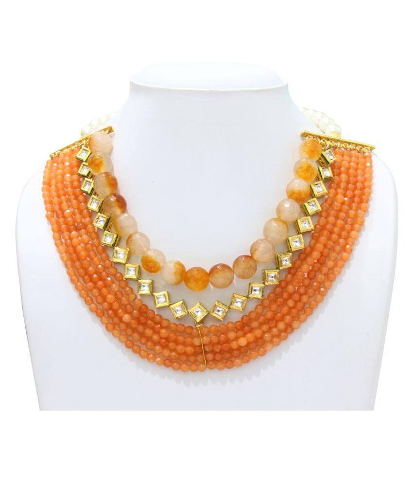 Eighth Fold Orange Crystal Necklace
