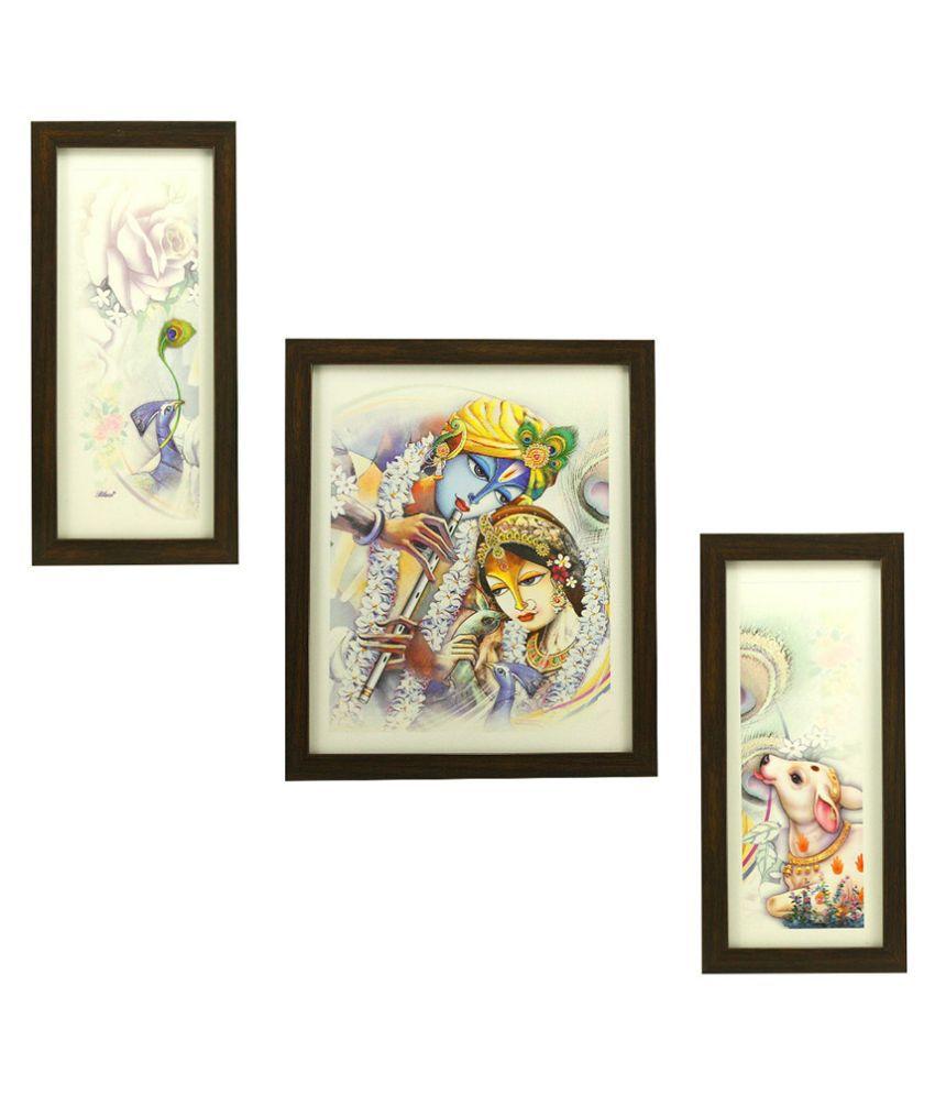 Indianara Religious Krishna MDF Painting With Frame