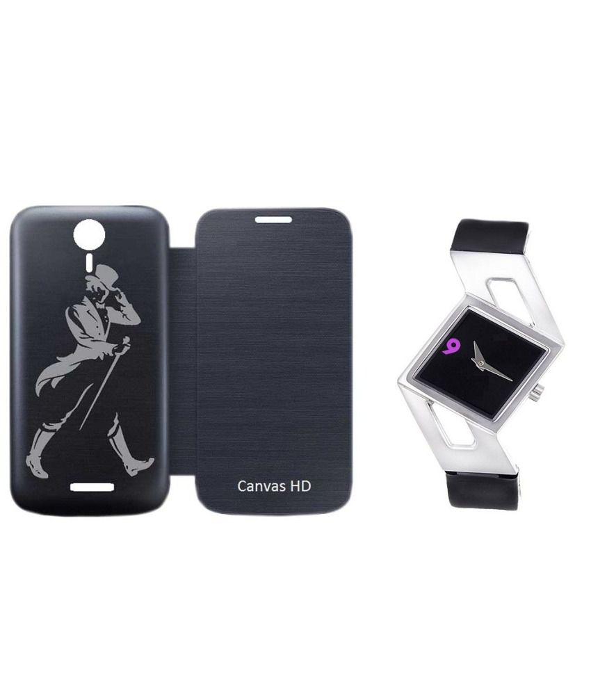 Printed Villa Flip Cover for Micromax Canvas HD A116l - Black With Women Watch