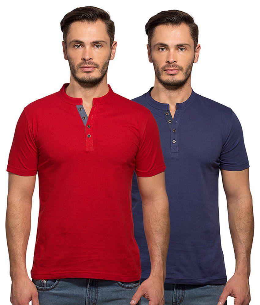 Maniac Multi Color Henley T Shirt Pack Of 2
