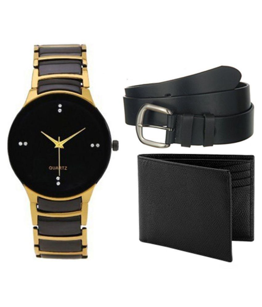 Jack Klein Black Metal Analog Watch with Wallet and Belt for Men