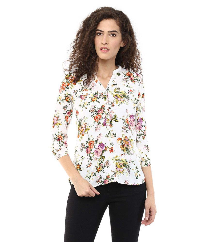 Color Cocktail White Poly Crepe Shirts