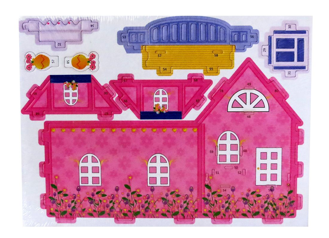 Lionsland Girly Pink House 3D Construction Puzzle Toy Multi-Color ...