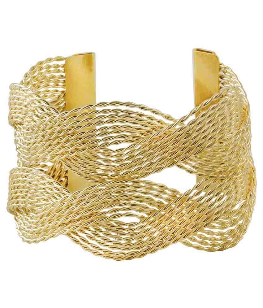 Takspin Fashion Gold Contemporary Handcuff (Adjustable Bracelet)