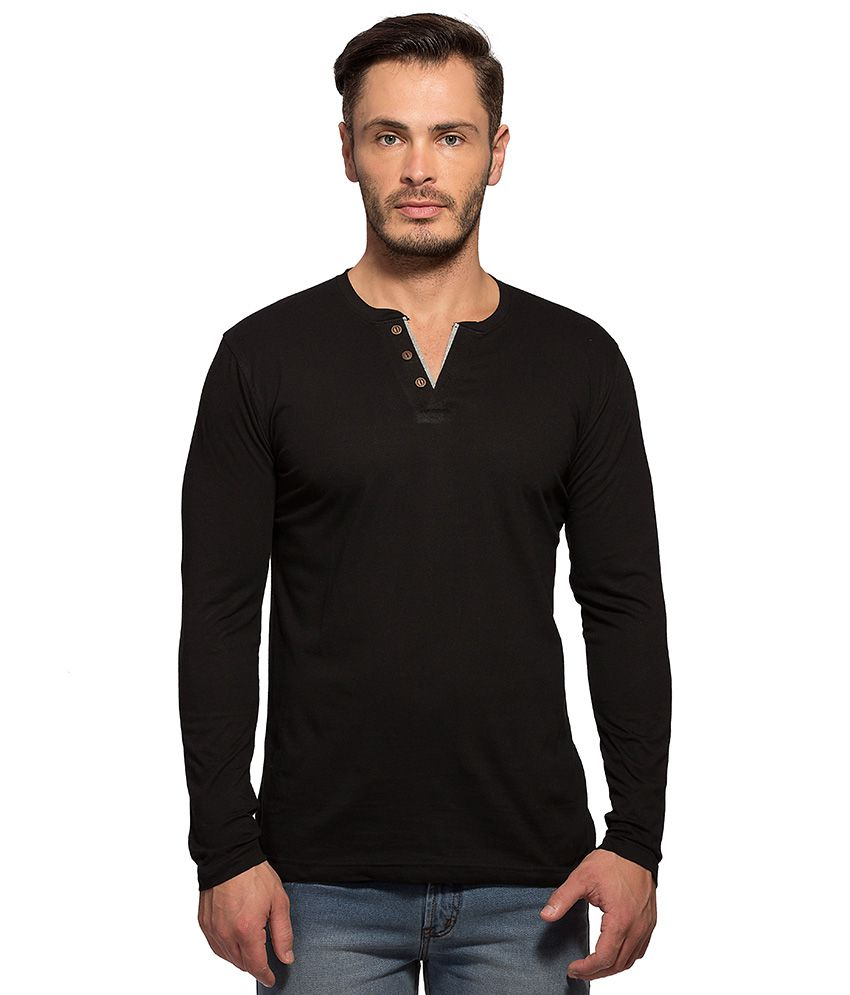 Maniac Black Henley T Shirt
