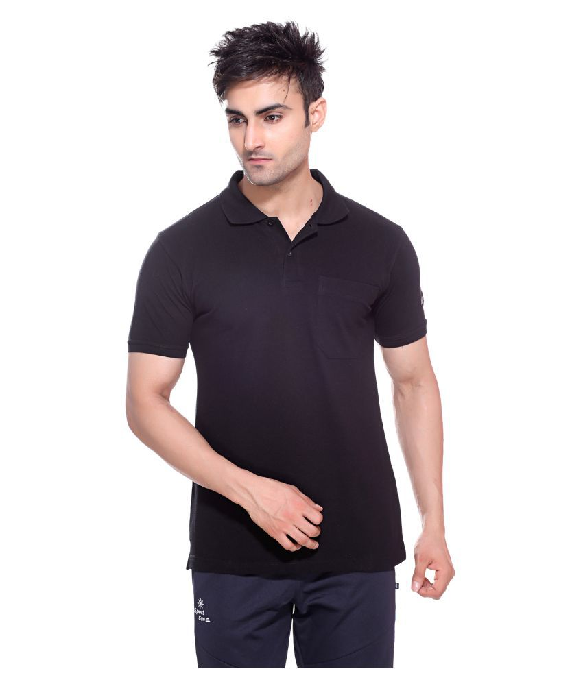 Sport Sun Black Cotton M-Polo T-Shirt