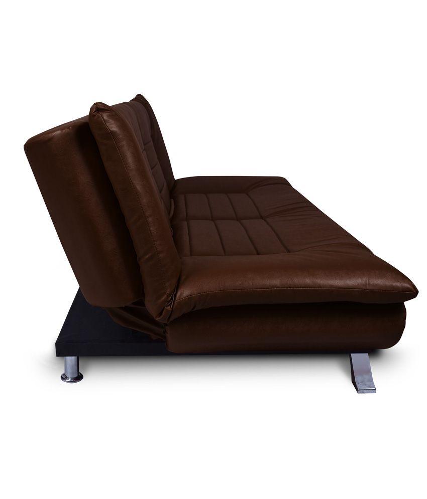 elite three seater leatherette sofa cum bed in brown buy elite three seater leatherette sofa. Black Bedroom Furniture Sets. Home Design Ideas