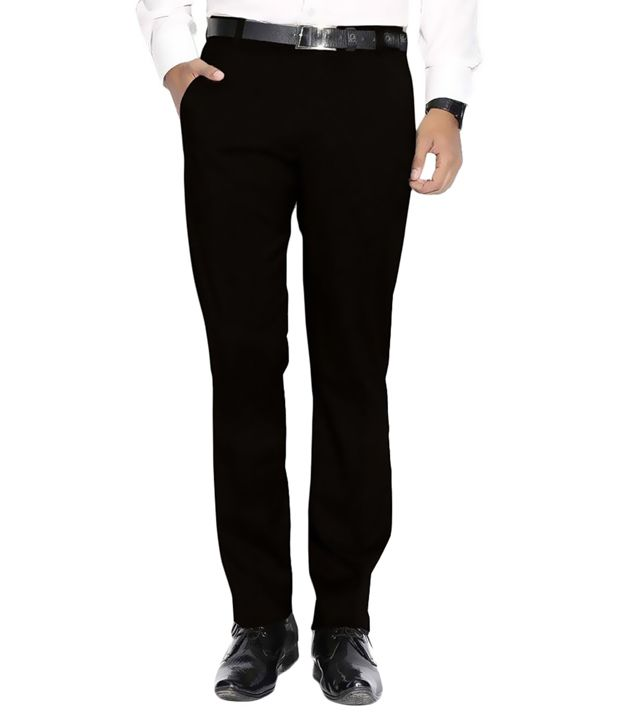Frankline Black Regular Fit Flat Trousers