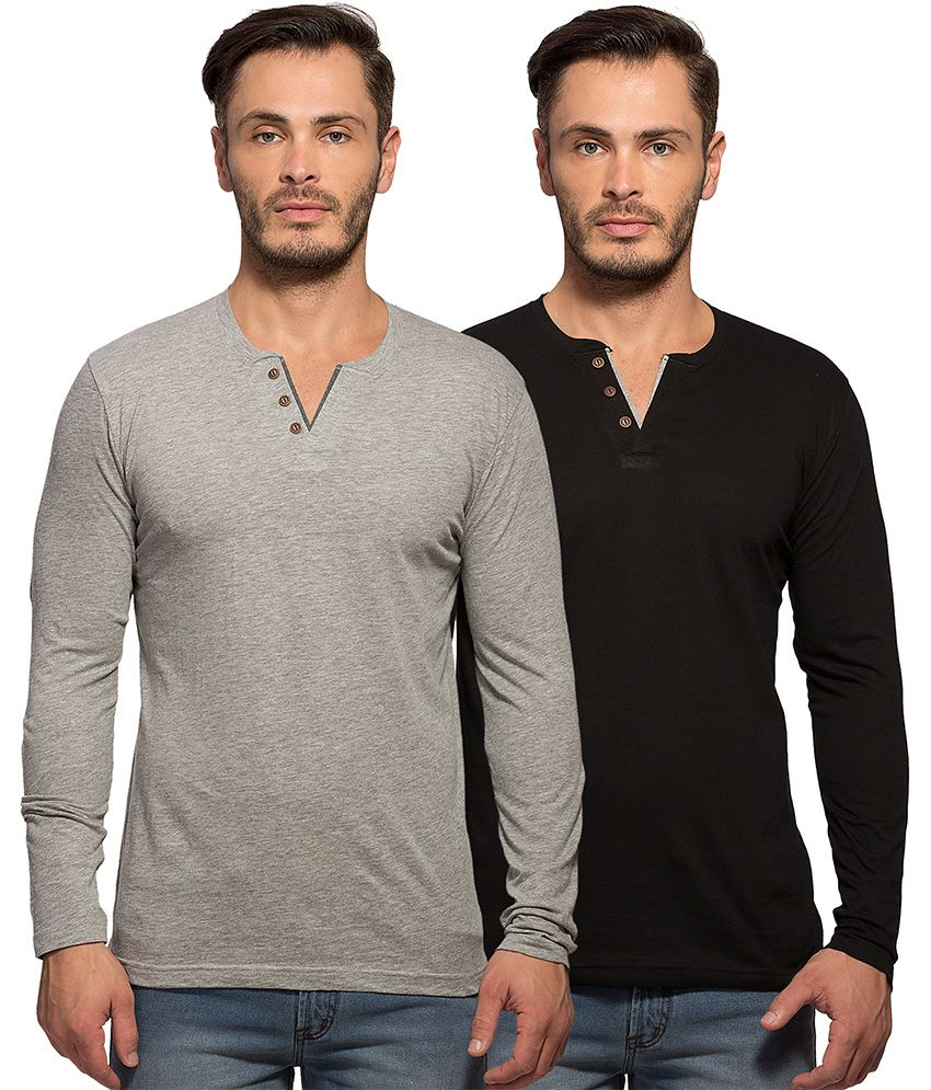 Maniac Multi Henley T Shirt Pack of 2