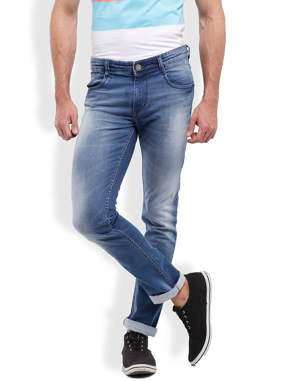 Parx Blue Slim Fit Faded Jeans