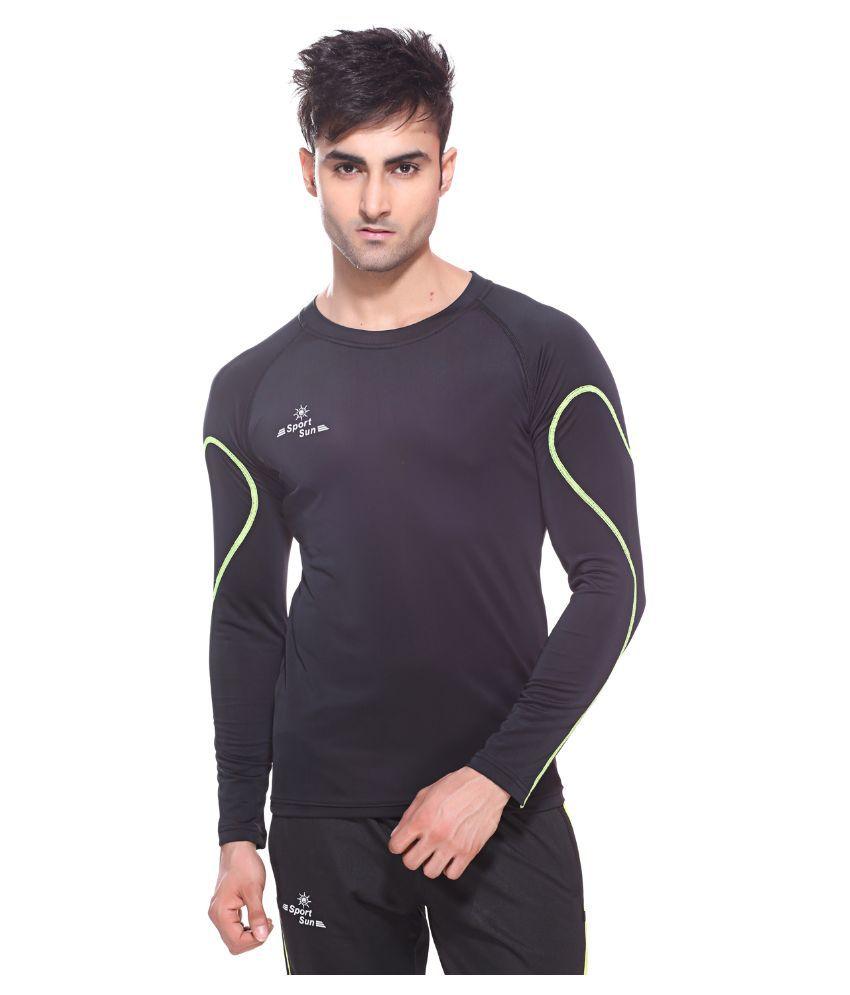 Sport Sun Black & Green Polyester Sports Inner For Men