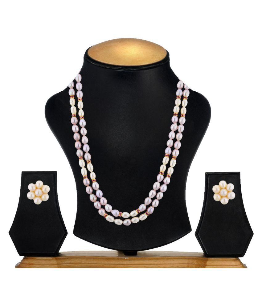 Sri Jagdamba Pearls Pearls Gold Plating Pearls Studded White Coloured Necklaces Set