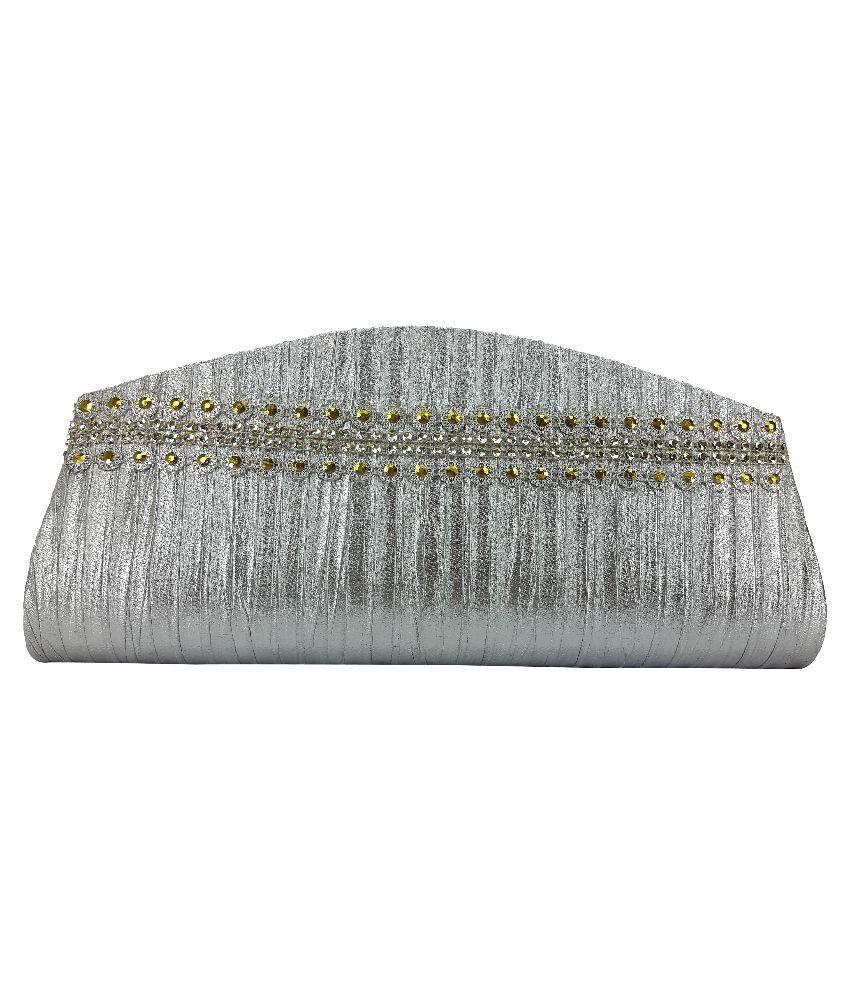 X-Well Silver Fabric Clutch