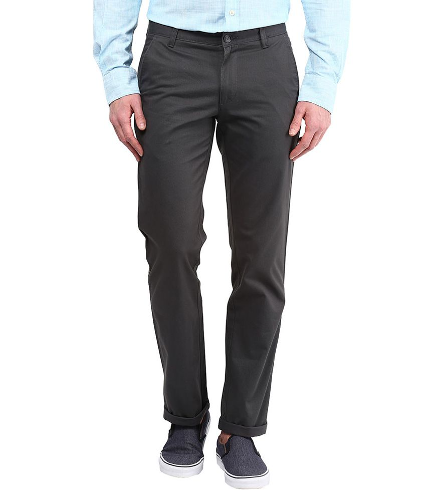Byford By Pantaloons Grey Regular Fit Trousers
