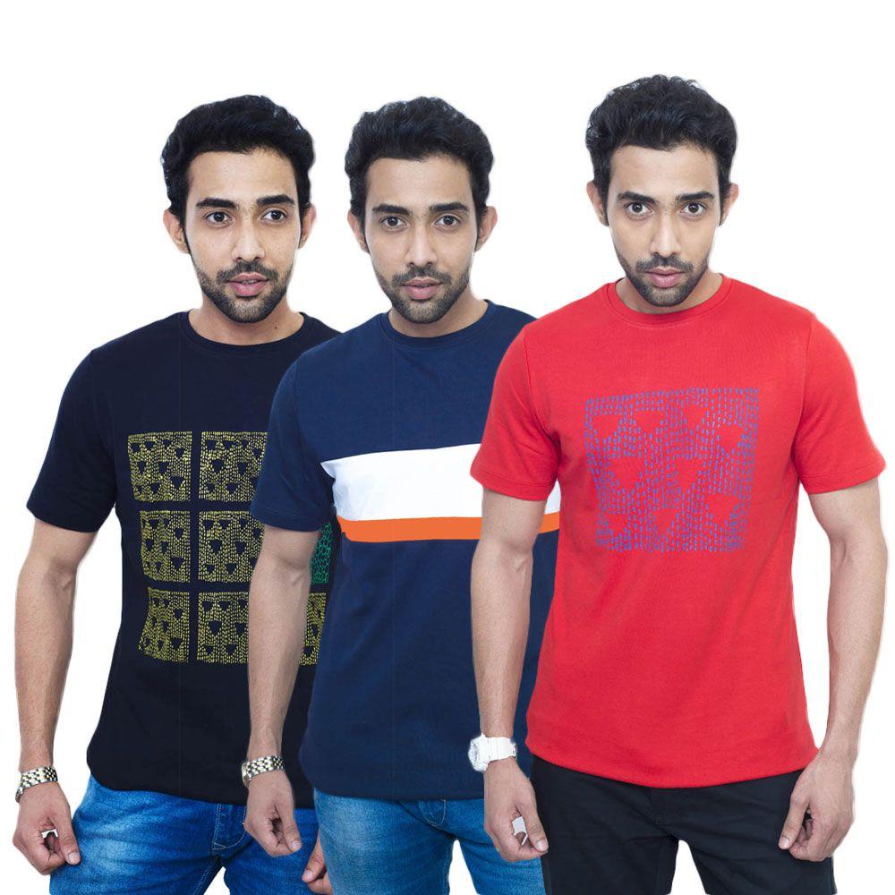 Fabnavitas Multi Round T Shirt Pack of 3