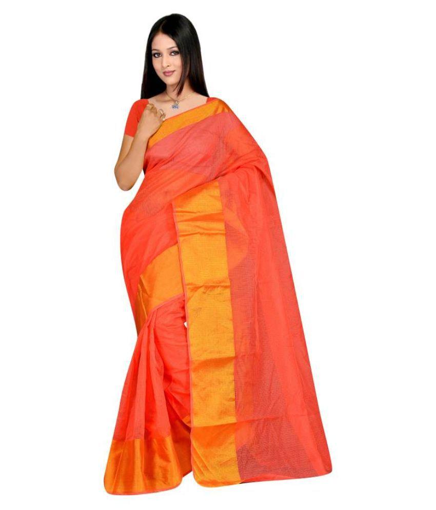 MD Fashion Orange Cotton Saree