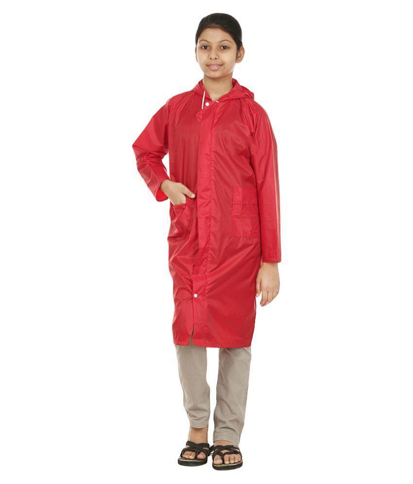 Rainfun Red Long Raincoat