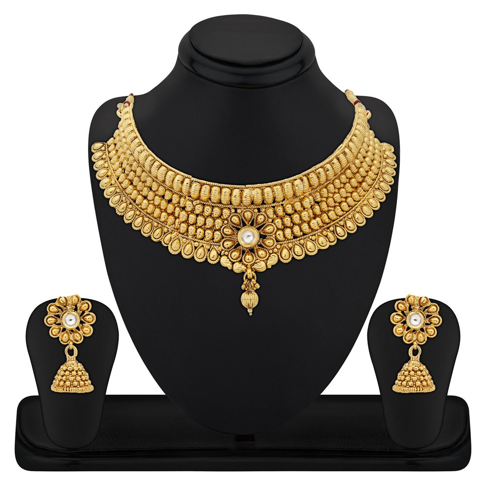 RG Fashions Jewellery Zinc Gold Plating Stones Studded Gold Coloured Necklace Set